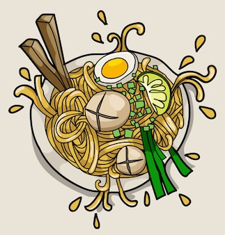 Concetto asiatico del manifesto del ristorante di ramen della tagliatella