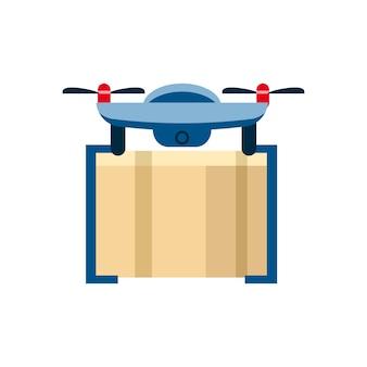 Concetto, assistenza drone con una cassetta dei pacchi, per la consegna aerea