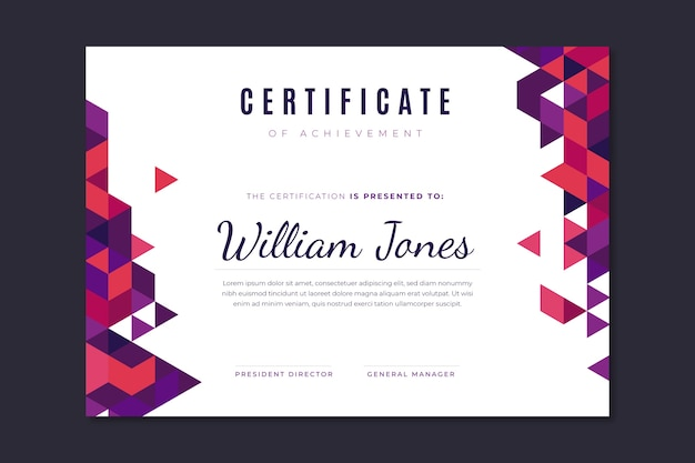 Concetto astratto certificato geometrico