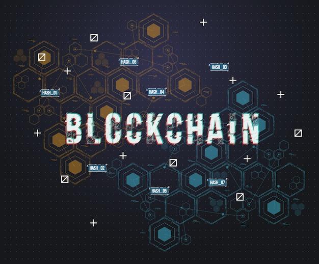 Concetto astratto della blockchain della rete del circuito per il web e l'app. illustrazione di tecnologia di valuta crittografica bitcoin.