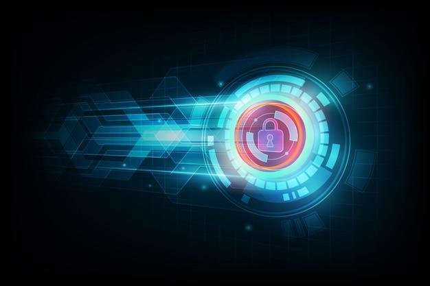 Concetto astratto di sicurezza dei dati e fondo futuristico di tecnologia elettronica, illustrazione di vettore