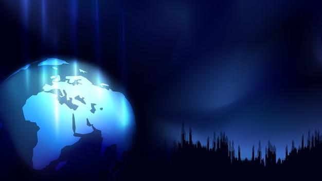 Concetto astratto, sfera della mappa di mondo con tariffa, costruzione della costruzione della siluetta, su blu scuro