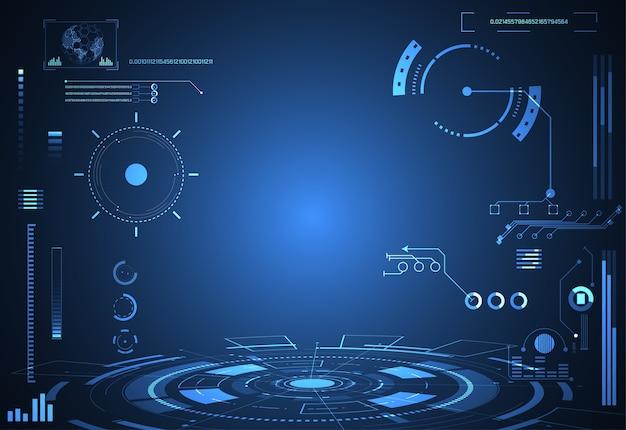 Concetto astratto tecnologia futuristica interfaccia ologramma
