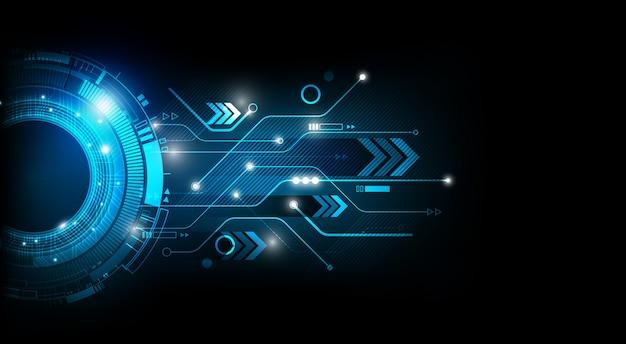 Concetto blu futuristico astratto del fondo di tecnologia di circuito elettronico
