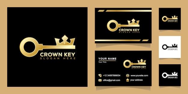 Concetto chiave logo corona, re chiave immobiliare logo design con biglietto da visita