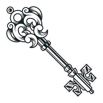 Concetto chiave medievale a filigrana d'annata