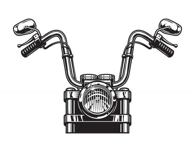 Concetto classico monocromatico di vista frontale del motociclo