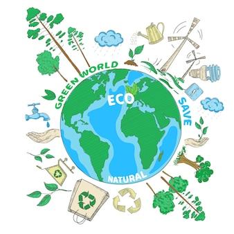 Concetto colorato di ecologia verde del mondo di scarabocchio