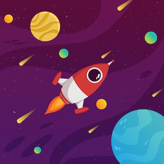 Concetto colorato di galassia con il pianeta e lo spazio del razzo volante