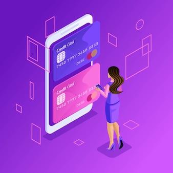 Concetto colorato di gestione di carte di credito online, conto bancario online, donna d'affari che trasferisce denaro da una carta all'altra tramite smartphone