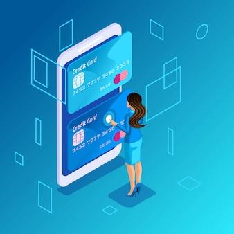 Concetto colorato su sfondo blu, gestione delle carte di credito online, donna d'affari gestisce il trasferimento di denaro da una carta all'altra su smartphone