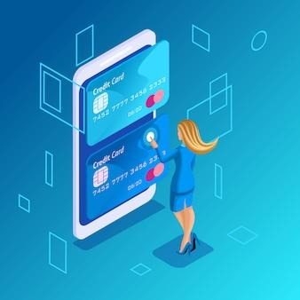 Concetto colorato su sfondo blu, gestione delle carte di credito online, donne online gestisce il trasferimento di denaro da una carta all'altra sul datore di lavoro dello smartphone