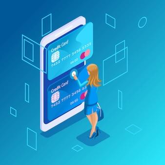 Concetto colorato su sfondo blu, gestione delle carte di credito online, una donna d'affari gestisce il trasferimento di denaro da una carta all'altra su smartphone