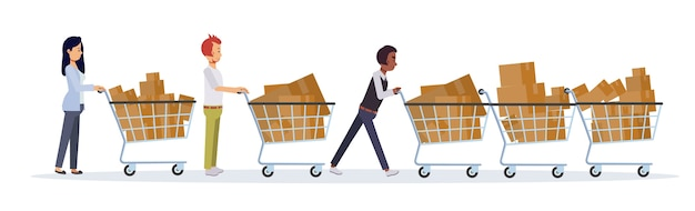 Concetto commerciale piatto di promozione e sconto. venerdì nero donne e uomini spingono il carrello della spesa. un sacco di cose nel carrello.