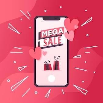 Concetto con il cellulare con messaggi d'amore