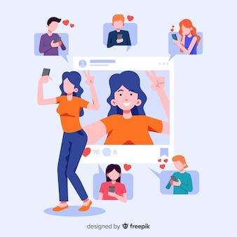Concetto con selfie per l'applicazione sociale