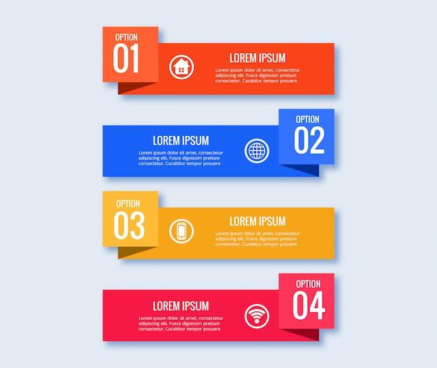 Concetto creativo del modello di progettazione di infographic con 4 punti