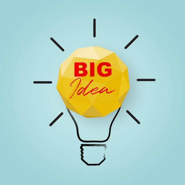 Concetto creativo di idea e innovazione con la buona idea della lampadina della carta del poligono.