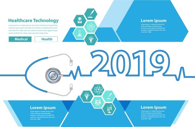 Concetto creativo di idee del cuore dello stetoscopio 2019 del nuovo anno