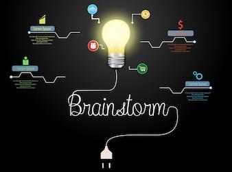 Concetto creativo di lampo di genio con la lampadina e l'infografica