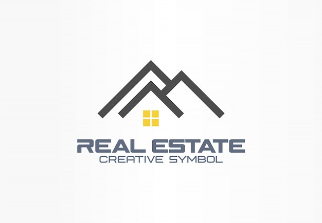 Concetto creativo di simbolo dell'agente immobiliare. tetto e luce sulla finestra, casa, costruire idea logo astratto business. icona di architettura casa in affitto
