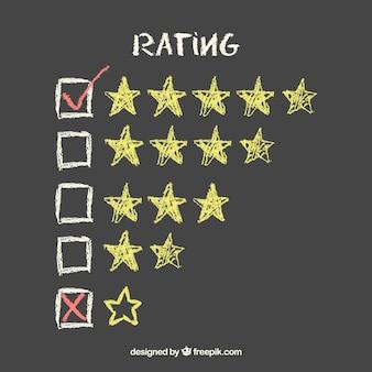 Concetto creativo di valutazione della stella della lavagna