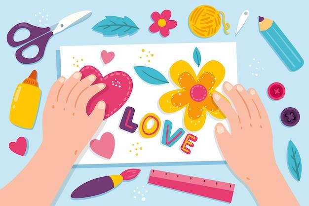Concetto creativo diy dell'officina con l'illustrazione delle mani