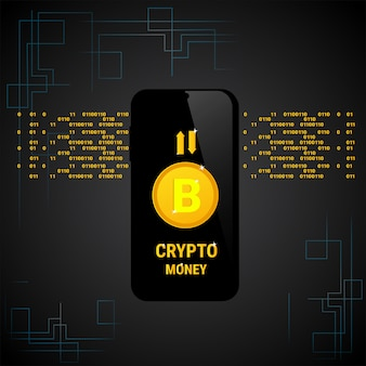 Concetto crittografico di soldi di web di digital dello smart phone dell'insegna di bitcoin di valuta