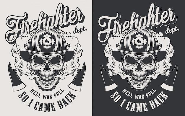 Concetto d'annata del logotype antincendio con le asce attraversate e cranio che indossa il casco del vigile del fuoco nell'illustrazione monocromatica di stile