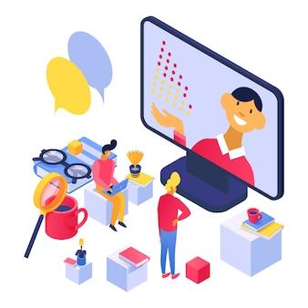 Concetto d'apprendimento online, conferenza sullo schermo del computer portatile per l'illustrazione degli studenti della gente.