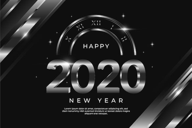 Concetto d'argento del nuovo anno 2020 del fondo