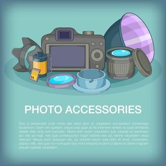 Concetto degli accessori della foto, stile del fumetto