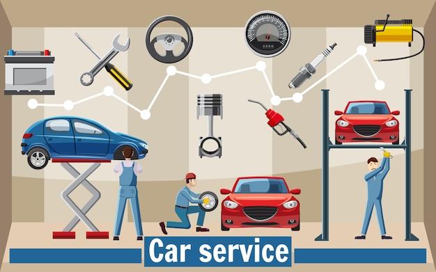 Concetto degli strumenti di servizio dell'automobile, stile del fumetto