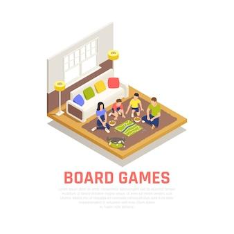 Concetto dei giochi da tavolo con i simboli di sera della famiglia isometrici