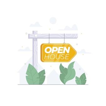 Concetto del bene immobile del segno della casa aperta