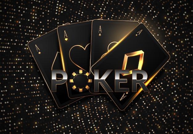 Concetto del casinò delle carte da gioco e dei chip di poker su buio