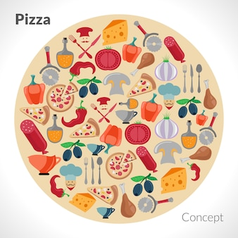 Concetto del cerchio della pizza