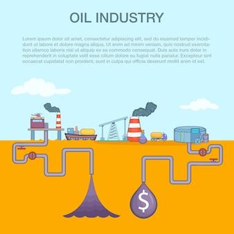 Concetto del ciclo dell'industria petrolifera, stile cartone animato