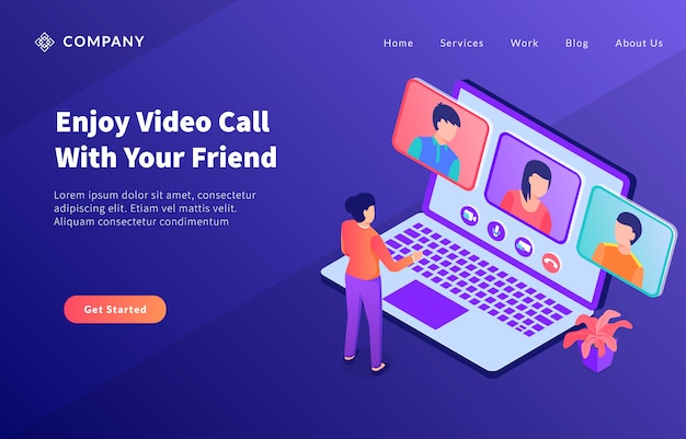 Concetto del computer portatile di concetto del gruppo del gruppo di chiamata video per il modello del sito web o il homepage di atterraggio