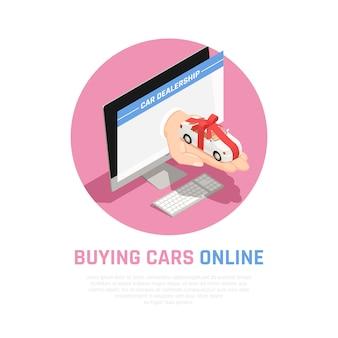 Concetto del concessionario auto con l'acquisto di automobili online simboli isometrici