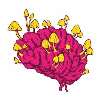 Concetto del disegno della mano di arte di linea del cervello del fungo