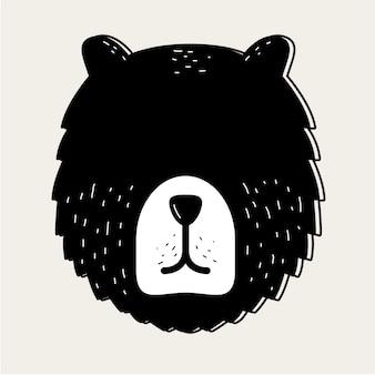 Concetto del distintivo della testa di fronte dell'orso dell'orsacchiotto