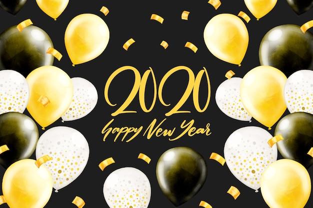 Concetto del fondo del nuovo anno 2020 dell'acquerello