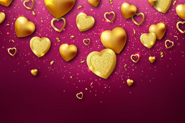 Concetto del fondo di giorno di biglietti di s. valentino dell'oro