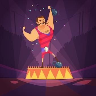 Concetto del fumetto atleta circo
