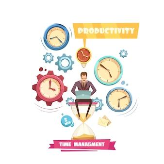 Concetto del fumetto della gestione di tempo retro con produttività dell'uomo che si siede sulla clessidra su fondo bianco