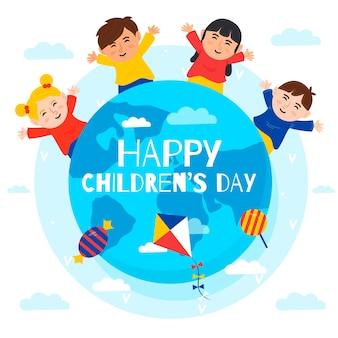 Concetto del giorno dei bambini nella progettazione piana