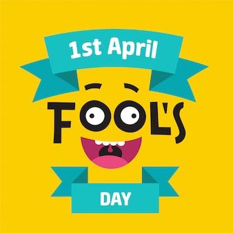 Concetto del giorno del pesce d'aprile con testo colorato su sfondo giallo