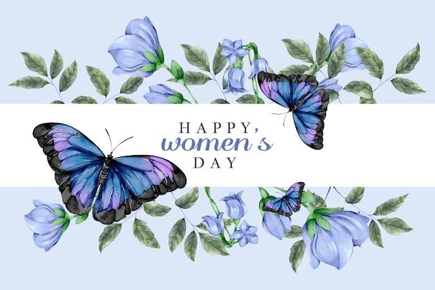 Concetto del giorno delle donne dell'acquerello con le farfalle