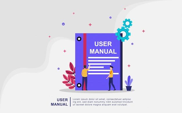 Concetto del libro del manuale dell'utente con le persone. guida, istruzioni per l'uso